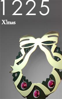 12/25はX'masです。金属素材+スワロフスキー・エレメントのコンパクトなクリスマスリースを飾ってみませんか?